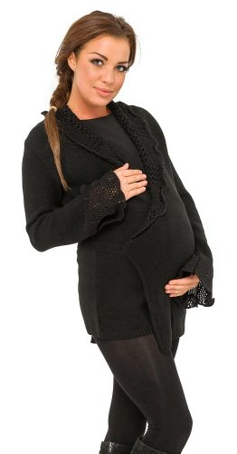 Glamour Empire Pregnancy Crochet Collar Belt Tied Wrap Cardigan Sweater 412 (US 8/10/12, Black)