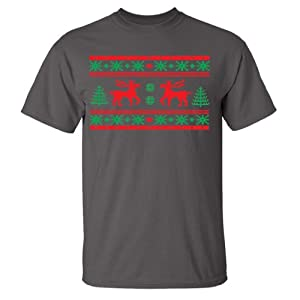 Festive Threads Ugly Christmas Sweater (Moose Design) Adult T-Shirt (Charcoal, 4X-Large)
