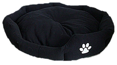 Black Plush Pet / Dog bed with White Paw Motif - X-Large