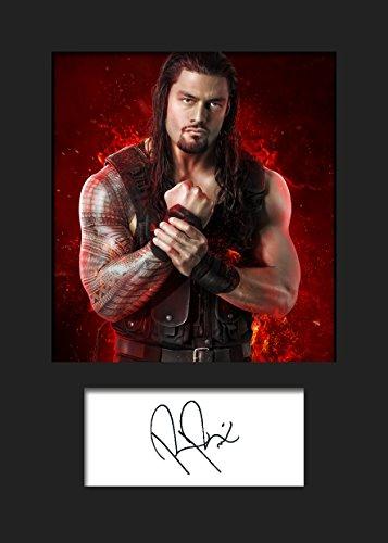Roman Reigns - Stampa fotografica incorniciata con firma WWE, formato A5