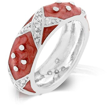 White Gold Rhodium Bonded Eternity Ring with Pink Hand Applied Enamel Overlay and Handset Clear CZ Xs and Silvertone Polk-a-dots in Silvertone
