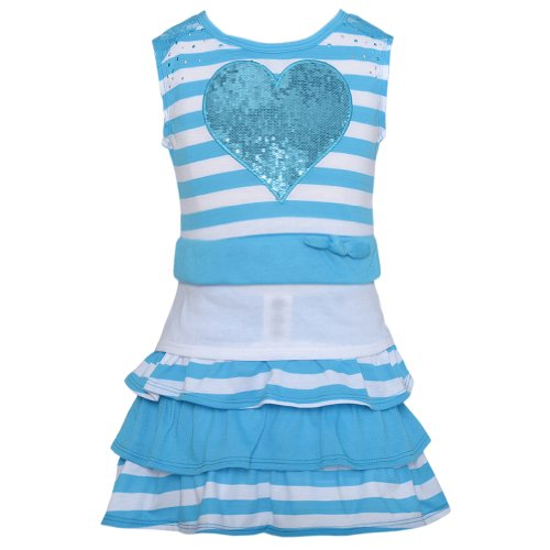 Blue White Stripe Heart Ruffle 2pc Top Skort Outfit Toddler Girl 2T-4T