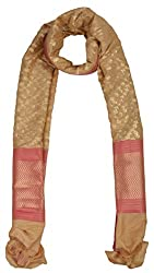 Sumona and Me Women's Silk Dupatta (Beige, Gold and Pink)