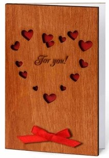 Handmade Sustainable Real WOOD Card BIG Heart For You UNIQUE Valentine or CREATIVE Gift Idea for 5th (fifth) Wooden Anniversary ! 5