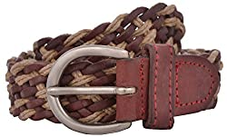 Exotique Women's Leather Belt (BW0007BR_Free_Brown)