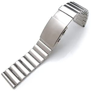 24mm Bandoleer 316L Straight End Stainless Steel Watch Band Divers Extension Clasp