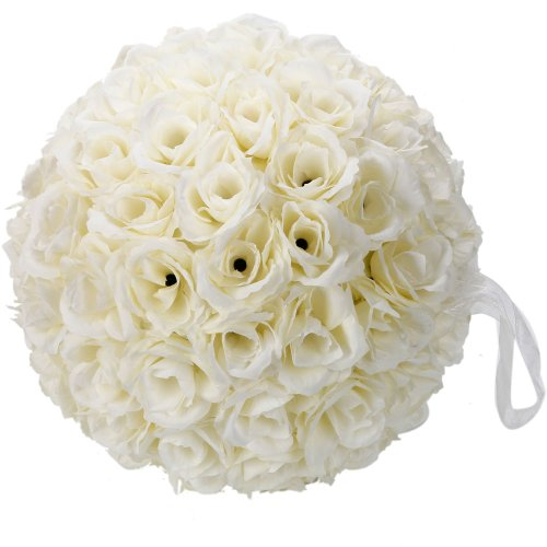 Elegant 10 Inch Satin Flower Ball for Wedding Party Ceremony Decoration (Ivory White)