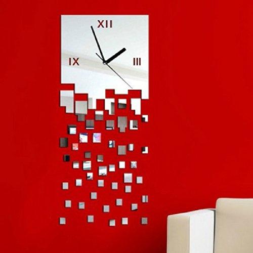 Dupin Llc (Tm) Home Decoration Modern Design Luxury 3D Diy Crystal Mirror Extra Large Wall Clocks (Silver)