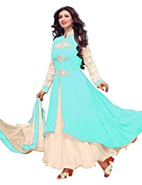 Surat Tex Light Blue & Off White Color Party Wear Embroidered Georgette Semi-Stitched Anarkali Suit-H858DLA2NA