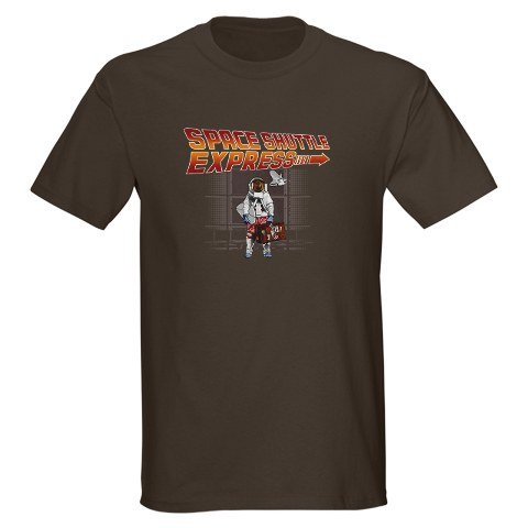 Space Vacations Brown T-Shirt Humor Dark T-Shirt by CafePress