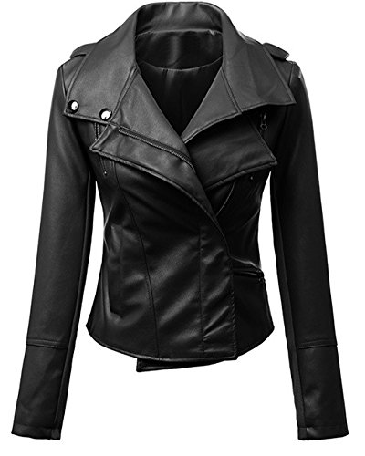 Womens Long Sleeves Motorcycle PU Leather Zipper Laple Jacket Coat Black