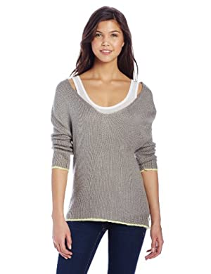 Tommy Girl Juniors Lace Up Back Sweater, Heather Grey, Medium