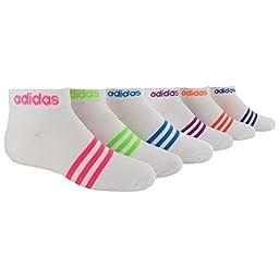 adidas Girls Superlite Low Cut Socks (Pack of 6), White/Solar Pink/Solar Green/Solar Blue/Vivid Pink/Glow Orange/Power Purple - Stripes, Medium