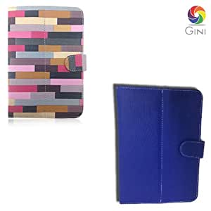 Gini 7 inches Flip cover forMercury mTAB Lite Tablet Combo of Multicolor And Blue