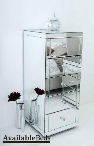 Reflections JULIANNA/PERSES 5 Drawer Mirrored Tallboy with Plinth