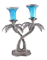 Style Kraftz Double Palm Tree Candle Stand 10 - DK433- Blue