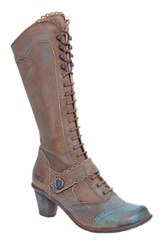 Dkode Valma Tall Low Heel Lace Up Vintage Boot