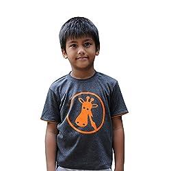 Snowflakes Boys' Dark Grey Tshirt with Giraffe Print