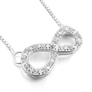 MunkiMix 925 Sterling Silber 925 Anhänger Halskette Bindeglied Kette Unendlichkeit Symbol Lieben Freundschaft Elegant Damen