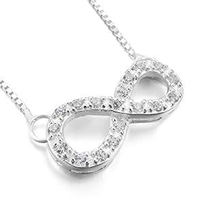 MunkiMix 925 Argent Fin 925/1000 Pendentif Collier Lien Chaîne Infinity Infini Symbole Amour Amitié Élégant Femme