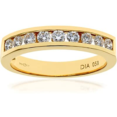 Ariel 18ct Channel Set Half Eternity Ring, IJ/I Certified Diamonds, Round Brilliant, 0.50ct