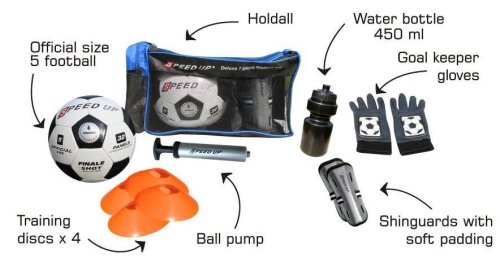 FOOTBALL TRAINING SET INCLUDING CARRY BAG, FOOTBALL,SHINGUARDS,PUMP,WATER BOTTLE,MARKER DISCS & COTTON GLOVES