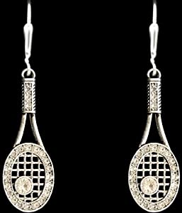 Buy From the Heart Tennis Racquet & Crystal Rhinestone Ball Earrings are Embellished in Clear Crystal... by From the Heart Enterprises