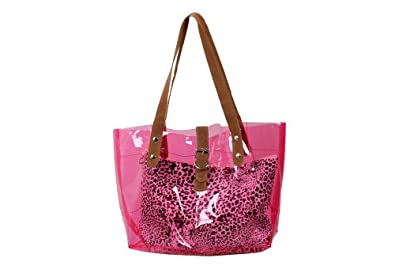 Bundle Monster PVC Vinyl Clear Transparent Carrier Beach Hand Carry Bag + Cheetah Print Cosmetic Tote - HOT PINK