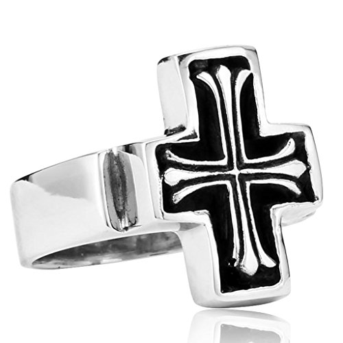 Anazoz Stainless Steel Men Ring Size 8 Simple Cross Wo