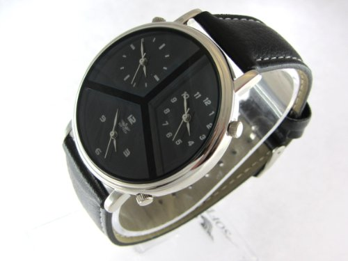 MENS Multi Time Zone DESIGNER WATCH Black MERCEDES Triple Dials NEW Silver GENTS