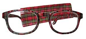 s plaid reading glasses with