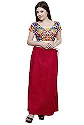 Pistaa Women's Cotton Rani Pink Colour Inskirt Saree petticoats