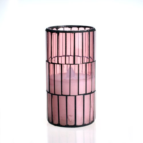 Dfl 3*6 Inch Pink Tiled Pattern Mosaic Glass With Flameless Led Candle With Timer,Work With 2 C Battery