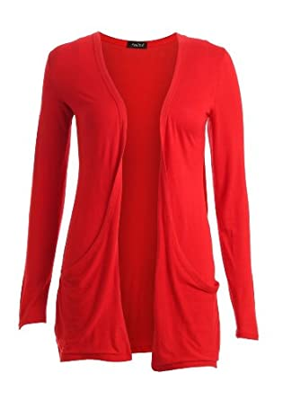 Crazy Girls Womens Boyfriend Pocket Cardigan Jersey Shrug (M/L-US10/12, Red)