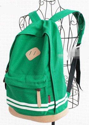 【G&C】 ストライプ バックパック リュックサック  ディパック 男女兼用 ライトグリーン