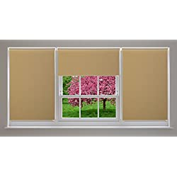 """All Design's Blackout Room Darkening Polyester Roller Shade / Window Blinds with Looped Chain, 34"""" x 72"""" Beige Color"""