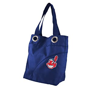 MLB Cleveland Indians Ladies Colo Sheen Tote Purse, Navy by Littlearth