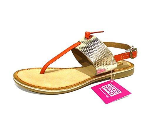 Gioseppo Vieux coral sandali flat n° 39 donna infradito bassi arancio e platino