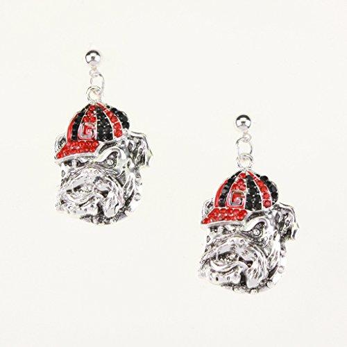 Georgia Bulldogs - NCAA Crystal Round Logo Dangle Earrings