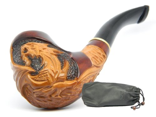 "Tobacco Smoking Pipe ""Dragon"" Hand carved of Pear wood, Collectible, Estate, Limited edition + Gift POUCH"