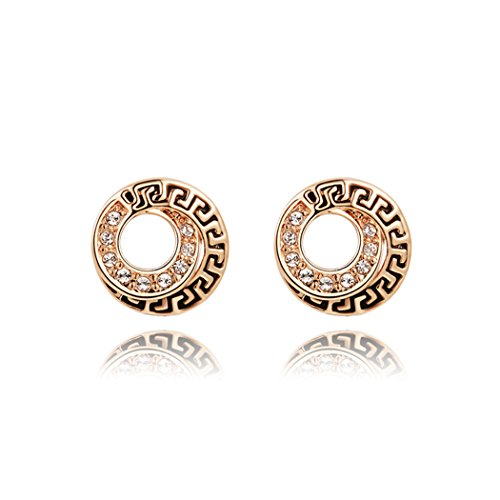 Duo La Elegant European Style Cubic Zirconia 18K Rose Gold Plated Retro Lady Stud Earrings
