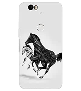 PrintDhaba HORSE ART D-6367 Back Case Cover for HUAWEI NEXUS 6P (Multi-Coloured)