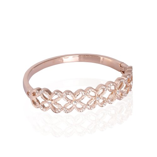 Fashion Plaza 18k Rose Gold Plated Clear Swarovski Elements Flower Tennis Bracelet with Free Box B162