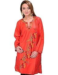 Exotic India Cherry-Tomato Kashmiri Kurti With Ari Hand-Embroidery - Red