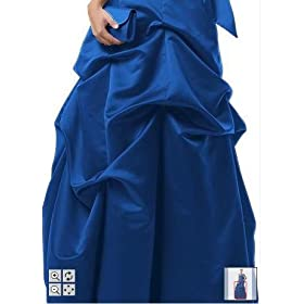 David's Bridal Strapless Satin Ball Gown with Pick-up Detailing & Sash -Blue Velvet-