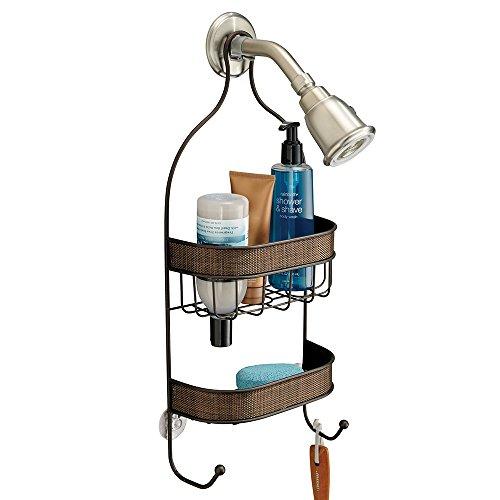 mDesign Bathroom Shower Caddy for Shampoo, Conditioner, Soap, Razors - Bronze (Shower Head Caddy Bronze compare prices)
