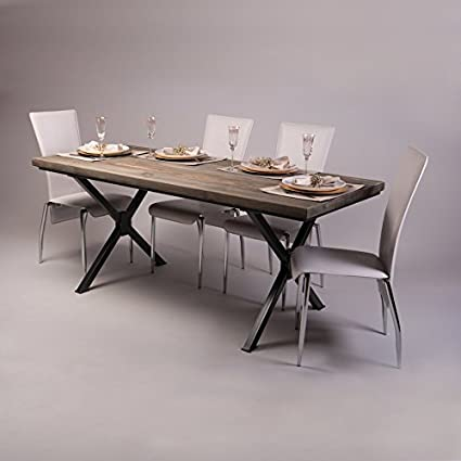 Pieds en forme de X en table à manger industrielle, Fernanda (Brown)-Graphite Grey (Powder coated), 6 seater W150xD75xH75cm