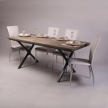 Tavolo da pranzo in legno massello di pino in stile rustico industriale con gambe a forma di X in acciaio