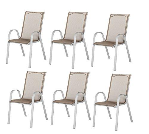6x-Gartensthle-Stapelstuhl-Stuhlgruppe-Set-Hochlehner-Garten-Mbel-silber-taupe