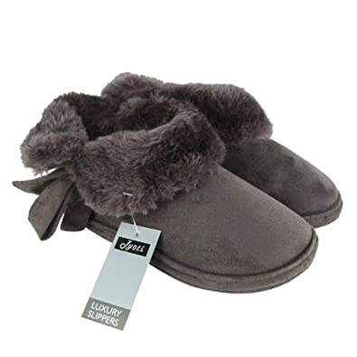 Ladies Faux Suede Furry Bootee Slippers Womens Size 3